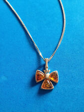 Pendentif + Chaine Argent Massif & Ambre / Sterling Amber Pendant