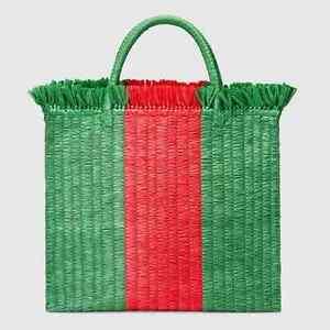 Gucci Raffia Woven Striped Green Red Tote Bag NEW $1290