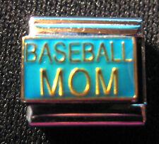 """Baseball Mom"" Modular Italian Charm - 9mm Size  --  Brand New-- Stainless Steel"