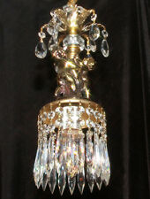 crystal Nude Cherub hanging SWAG Lamp Chandelier brass plated Vintage spelter