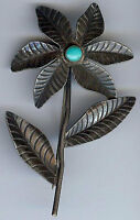 *VINTAGE NAVAJO INDIAN SILVER TURQUOISE LARGE FLOWER PIN BROOCH*