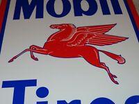 """VINTAGE MOBIL MOBILGAS TIRES + PEGASUS 11 3/4"""" PORCELAIN METAL GASOLINE OIL SIGN"""