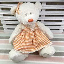 "Russ Berrie Teddy Bear Lullaby Soft Toy Orange Gingham Dress 18"""
