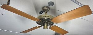 "Hunter Original Cast Iron 52"" Ceiling Fan - 2.5 amp - USA Made - Brass - 22274"