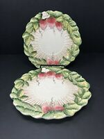 Set of 2 Takahashi San Francisco Hand Painted Majolica Strawberry Salad Plates