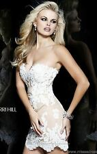 21187 Sherri Hill Ivory Lace Party Evening Formal Prom Gown Dress Size USA 8