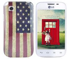 Hülle f LG L40 D160 Schutz Case Cover Tasche Bumper Etui Silikon TPU USA Flagge