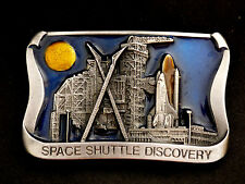 Space Shuttle Discovery Nighttime Launch Vintage 1986 Solid Pewter Belt Buckle