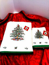 Spode Christmas Tree Bath and Hand Towel 100% Cotton Embroidered Nwt