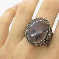 Antq 925 Sterling Silver Real Agate Gemstone Large Handmade Ring Size 10 3/4