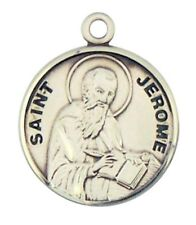 Patron Saint St Jerome 7/8 Inch Sterling Silver Medal on Rhodium Plated Chain