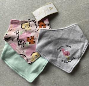 💖 Baby Girl Bandana Bibs 3 Pack Flamingo 🦩