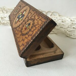 Vintage 1961 Ex Yugoslavia Wooden Carved Hand Painted Pencil Case Box Holder