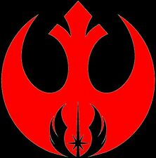 Red Rebel Alliance with Jedi cutout logo star wars decal car window sticker