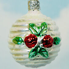 Old World Inge Glas Roses Ball Christmas Ornament Relief Flower 1990s 3633 Mint