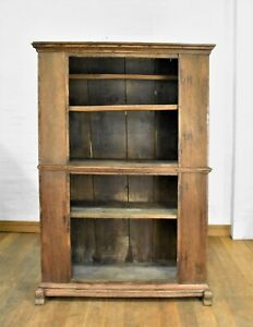 Antique Farmhouse rustic large open bookcase - display shelving