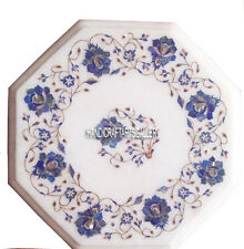 "12"" White Marble Coffee Table Top Lapis Lazuli Inlay Floral Kitchen Decor H2964"