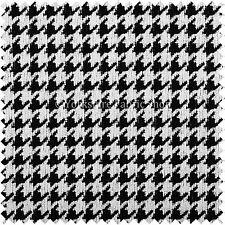 Negro Blanco A Cuadros Elegante Houndstooth patrón de tejido suave hecho Tela de tapicería