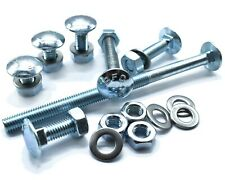 M10 BZP CUP SQUARE CARRIAGE BOLTS COACH SCREWS & FREE WASHERS & FULL NUTS
