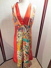 VINTAGE LAUNDRY sz S 4 halter dress 100% silk floral RED below knee