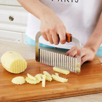 Potato Crinkle Cutter Stainless Steel Wavy Chip Cutter Kitchen Cutting Tool
