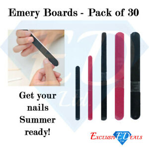 Assorted Emery Boards Nail Files Salon Straight Various Sizes Pack of 30 - Zazie