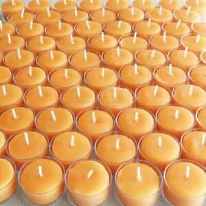 🐝 100 Beeswax Tealights BULK 100% Pure Natural Candles / USA Honey Tea Lights