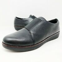 Fitflop Laceless Leather Derby Shoes Black Comfort Leather Womens Size 11