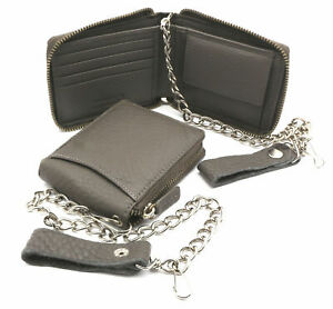 Bifold Gray Genuine Leather Scale Texture Zip-Around Wallet with a Chain