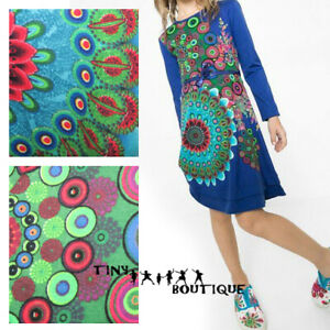 Desigual Girls Dress in Blue Floral Kaleidoscope Print 3 4 11 12 13 14 years