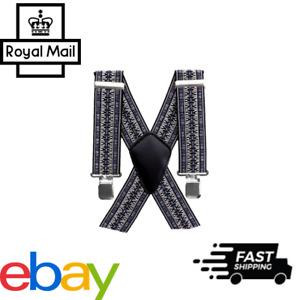 50MM Adjustable Plain Customs Mens Braces Suspenders Heavy Duty Trouser Elastic