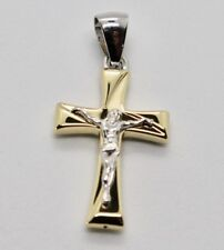 18K YELLOW AND WHITE GOLD CROSS JESUS STYLIZED VERY LUSTER MADE IN ITALY 1.2 IN