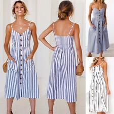 UK Womens Holiday Jumper Striped Ladies Sun Beach Summer Cami Button Midi Dress