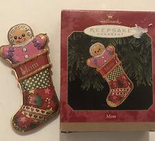 1999 Hallmark Keepsake Ornament Mom Gingerbread Stocking Pressed Tin