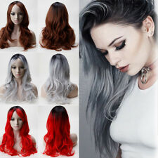 Fashion Full Wig Halloween Cosplay Party Hair Silvery Grey Brown Straight Wave X