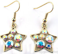 Gold Tone AB Crystal Star Dangle Earrings