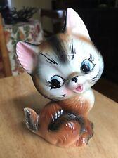 """Vnbtage Cat Ceramic Figurine 6"""" 1950s"""