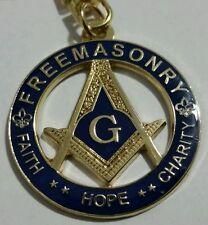 Freemason Faith, Hope, Charity Key Chain in Blue & Gold