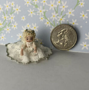 Dollhouse Miniatures Doll Ethel Hicks Angel Child Sitting Angel Girl Wings 1:12
