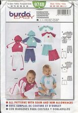 BURDA 9748 Easy Baby Sweatsuit Jersey shorts sweatpants sewing pattern UNCUT NEW