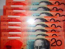 AA13 First Prefix & DA13 Last Prefix 2013 $20 Banknotes Unc MATCHING SERIALS