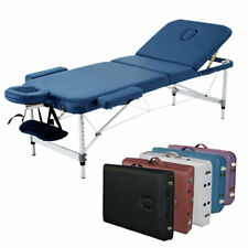 "3-Section Aluminum 84""L Portable Massage Table Tattoo w/ Carry Case (Navy Blue)"
