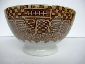 """Antique Luster Brown Alpine Pattern Bowl Porcelain Pottery Cawl Bowl Collecti""""03"""