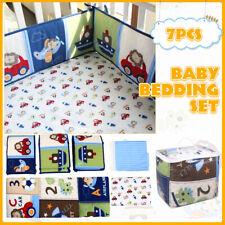 7Pcs Set Blue Baby Boy Bedding Crib Cot Nursery Quilt Bumper Sheet Blanket