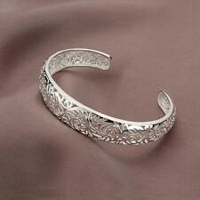 Charm Jewelry Cloud Patterns Bangle Bracelet Hollow Silver Plated