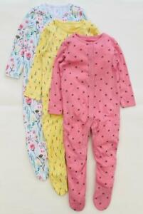 Baby Girls F&F Sleepsuits Pink Yellow Floral Bumblebee 3 Pack Cotton Grip 9-12