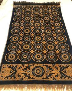 Vintage 70's Fieldcrest Black/Gold Bath towel