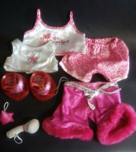 Build A Bear Workshop Clothes Lot Girl Pink PJs Accessories Shirt Pants BAB BABW