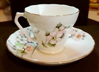 Fondeville Embassy Ware -  Cup And Saucer Bone China Floral Pattern Pink -Gold