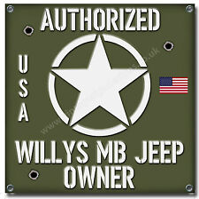"WILLYS MB JEEP OWNER WATERPROOF 550GSM GRADE PVC GARAGE BANNER 28"" X 28"""